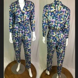 Vintage 1970's DVF Double Breasted Leaf Jumpsuit
